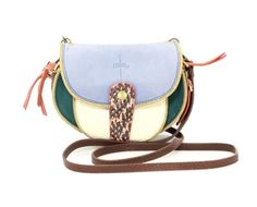 Jerome Dreyfuss Multicolor Leather & Blue Suede Small Crossbody Bag #JeromeDreyfuss #MessengerCrossBody