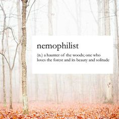 Nemophilist   a haunter of the woods; one who loves the forest and its beauty and solitude