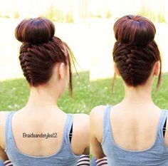 Upside down french braid into a big bun braidsandstyles12