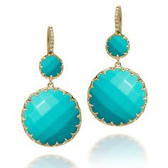 Ivanka Trump Earrings in Yellow Gold with Turquoise & Diamonds