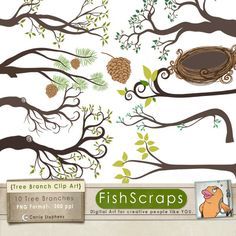 Tree Branch Clip Art - Bird Nest Graphics - Pine Cone -  Digital Graphics - Downloadable Commercial Use. $5.95, via Etsy.