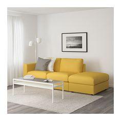VIMLE Sofá 3 lugares - c/lado aberto/Orrsta amarelo dourado - IKEA