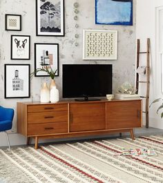 West Elm Mid-Century Media Console Styling