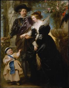 "Rubens, His Wife Helena Fourment (1614–1673), and Their Son Frans (1633–1678), ca. 1635. The Metropolitan Museum of Art, New York. Gift of Mr. and Mrs. Charles Wrightsman, in honor of Sir John Pope-Hennessy, 1981 (1981.238) | This magnificent portrait shows the artist with his second wife and one of their five children strolling in a ""Garden of Love."""