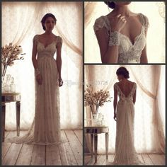 Wholesale Empire Wedding Dresses - Buy 2014 A-line Sweetheart Collar Open Back Floor-length Capped Short Sleeve Bow Lace Sash Pleats Beads Fashion Sexy Empire Wedding Dresses, $129.38 | DHgate
