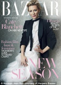 Cate Blanchett by Norman Jean Roy for Harper's Bazaar UK February 2016 cover - Armani, Erdem Spring 2016 dress