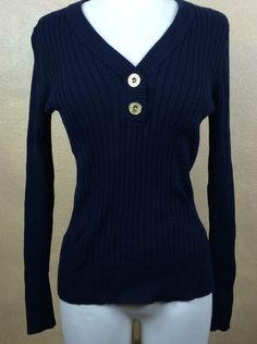 Lauren Jeans Ralph Lauren Navy Blue Ribbed Longsleeve Sweater w Brass Botton  | eBay