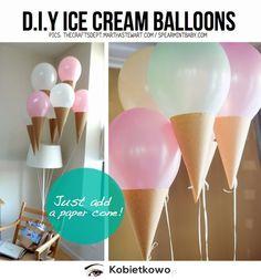 DIY ice cream cone balloons - just add paper cones. So simple. Diy Ice Cream, Ice Cream Party, Ice Cream Theme, Glace Diy, Ice Cream Balloons, Lace Balloons, Helium Balloons, Deco Ballon, Do It Yourself Inspiration