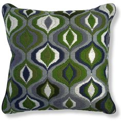Jonathan Adler Green Bargello Waves Pillow in All Pillows & Throws