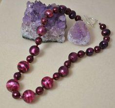 Purple Pearl & Murano Glass Necklace £80.85