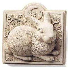 Lawn Ornament Concrete Plaques - Midnight Bunny Plaque - 4 x 4 1 - Available In Natural Stone Concrete Rabbit Sculpture, Art Sculpture, Wall Sculptures, Cement Art, Decoration Originale, Wood Carving Art, Rabbit Art, Bunny Art, Donna Dewberry