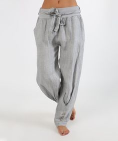 This Light Gray Button-Hem Linen Pants - Women is perfect! #zulilyfinds
