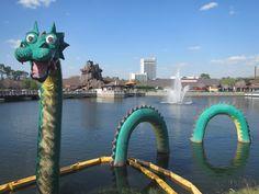 Disney Springs lake dragon in Orlando, FL:  https://www.roxbeachweddings.com/honeymoon-destination-reviews/honeymoon-destination-review/