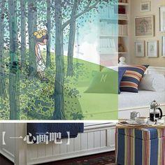 150 cm *200 cm blue color cartoon style kids children bedroom hanging screens roller blinds