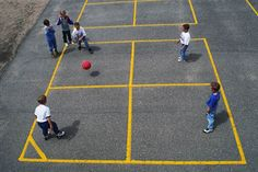 Four square was my GAME at recess although I could never do spinners like some could. Now kids have different stuff (bus stops?) and it's just not the same.