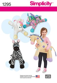 Simplicity Creative Group - Stuffed Zebra, Unicorn, Pegasus and Giraffe
