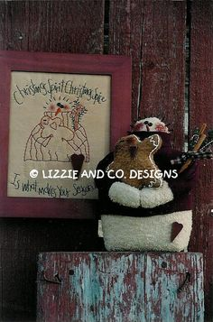 CHRiSTMaS SPiCe - SNoWMaN AnD GiNGeRBReaD DoLL - SNoWMaN AnD GiNGeRBReaD STiTcHeRy - PDF ePattern - Primitive and Whimsical