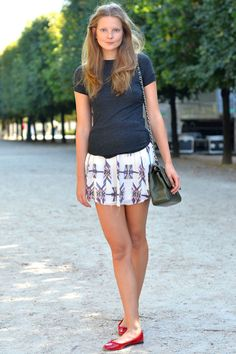 eniko mihalik in isabel marant skirt, red ballet flats