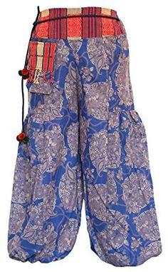 Womens Hmong Long Cotton Printed Pants Circle Black White At Amazon Clothing