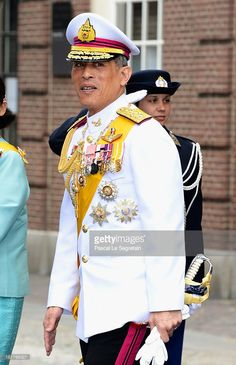 Prince Maha Vajiralongkorn departs the Nieuwe Kerk to return to the Royal Palace after the abdication of Queen Beatrix of the Netherlands and the Inauguration of King Willem Alexander of the Netherlands on April 30, 2013 in Amsterdam, Netherlands.