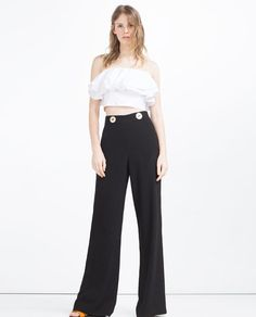 ZARA - COLLECTION SS16 - WIDE-LEG BUTTONED TROUSERS