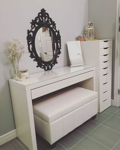 Updated vanity. Malm desk (IKEA), Alex drawers (IKEA), Bella storage bench (Home Depot).