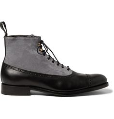 Handmade Chelsea Lace Up Two Tone Leather Party Formal Boots Men's SK212 #Handmade #TwoToneButtontop