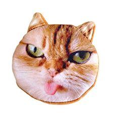 Flauschiger Kindergeldbeutel / Kinderportemonnaie / Münzbeutel / Schlüsseltasche mit süßem Katzenmotiv inkl. Katzenohren (Reissverschluss) (Braun-Weiß (Zunge))