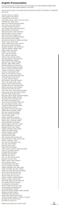 English pronunciation. i read the whole thing through out loud and i guess i speak better English than 90% or whatever, because i didn't think it was too hard! it does kinda make you think of how crazy the English language must seem to non native speakers. :)