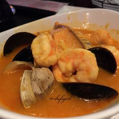 Plato Marinera de la Casa. Seafood Stew of Clams. Mussels. Shrimp. Monkfish. Saffron Broth.