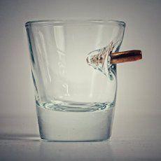 Neat! BenShot.  Shot glass with real bullet.