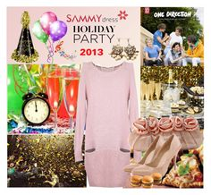 """Holiday Party - SAMMYDRESS"" by fantasiegirl ❤ liked on Polyvore featuring Retrò, Junk Food Clothing, office women's pumps, party women's evening bag and laconic scoop long sleeves knit dress"