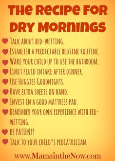 "Ten Steps to Dry Mornings.  Bed-wetting is the next article in our series  ""How to Love Your Toddler from Tantrum to Triumph"""