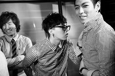 Daesung, G-Dragon, and T.O.P. Dragon looks like he's not happy that TOP has on the same shirt. lol