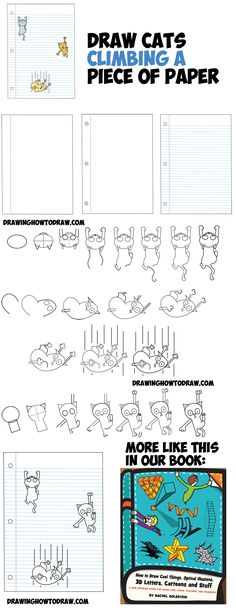 How to Draw Cartoon Cats Climbing Lined Paper 3D Optical Illusion Step by Step Drawing Tutorial for Kids