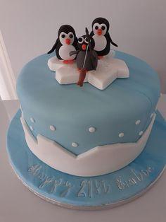 21st Birthday Cakes, 35th Birthday, Birthday Ideas, Penguin Birthday, Penguin Cakes, Kid Cupcakes, Little Girl Birthday, Cake Decorating Techniques, Amazing Cakes