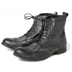 Sherwin Black II - Sherwin, our washed leather ladies Victorian style ankle boot. Featuring brogue detailing on toe and heel, t. Victorian Boots, Victorian Fashion, Black Brogue Boots, Hudson Shoes, Combat Boots, Ankle Boots, Vanz, Summer Feet, London Shoes