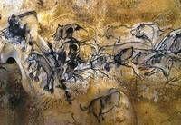 """Рис. 3.20. """"Парад зверей"""". Пещера Шове, юг Франции. 31 тыc.л. н. «Колонна» пещерных львиц являет собой успешную попытку изображения перспективы. Многие специалисты считали, что в палеолитической живописи представлены только профильные изображения. В «шеренге» бизонов практически нет ни одного профиля, все головы животных показаны либо анфас, либо в три четверти."""