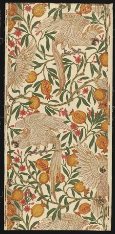 Walter Crane Wallpaper - Macaw and Persimmon, circa 1902