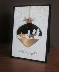KeepStamping: Sleigh Ride Edgelits with Delicate Ornaments Thinlits Christmas Cards 2017, Stamped Christmas Cards, Homemade Christmas Cards, Xmas Cards, Homemade Cards, Handmade Christmas, Holiday Cards, Christmas Crafts, Christian Christmas