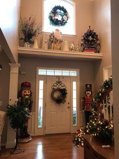 High Shelf Decorating, Plant Ledge Decorating, High Ceiling Decorating, Foyer Decorating, Christmas Plants, Christmas Home, All Things Christmas, Christmas Window Decorations, Holiday Decor