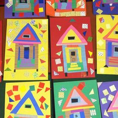 """Shotgun Shack"" art project for African American History month completed by elementary students. Kindergarten Art Lessons, Art Lessons Elementary, African American History Month, School Age Activities, Africa Art, Unusual Gifts, Art Classroom, All Art, Art Projects"