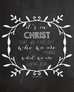 It is in Christ we find out who we are and what we are living for. LOVE THIS!