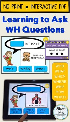 Teach how to ask questions in a repetitive, consistent way! Contains 2 levels: fill in the word or fill in the whole question. This is a NO PRINT, interactive PDF - use on your computer or tablet!