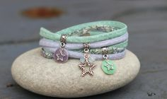 Bracelet cordon liberty 2 tours étoile parme menthe et argenté : Bracelet par lillicrapote