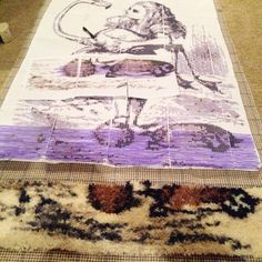 The Alice in Wonderland rug I am currently working on. I'm using all wool yarn, mostly old stock from yarn companies that closed years ago (you should see some of the vintage packaging). This is a latch hook rug design. #crafts #aliceinwonderland