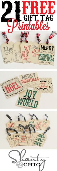 21 FREE Holiday Gift Tag Printables - Perfect to attach to Christmas Gifts and Holiday Baked Goods Treat Plates for neighbors, teachers and friends!   Shanty2Chic