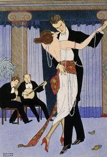 Gerda Wegener Columns, curtains, tango, musicians