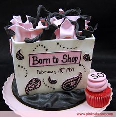 """Born to Shop"" gift bag made of cake and edibles...one of my favorites!"
