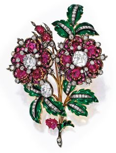 Silver-Topped-Gold, Ruby, Diamond and Enamel Brooch, Circa 1870